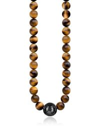 Thomas Sabo Power Necklace Yellow Tiger Eye Beads and Sterling Silver Men's Necklace - Gelb