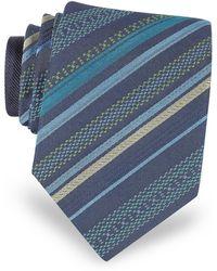 Missoni - Navy Blue Diagonal Stripe Woven Silk Narrow Tie - Lyst