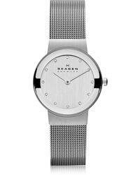 Skagen - Freja Silvertone Stainless Steel Mesh Bracelet Women's Watch - Lyst