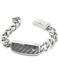 Emporio Armani - Large Signature Stainless Steel Men's Bracelet - Lyst