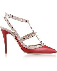 Valentino - Red Rockstud Ankle Strap Pump - Lyst