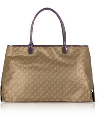 Gherardini - Hazelnut Signature Fabric Softy Tote W/patent Leather Double Handles - Lyst