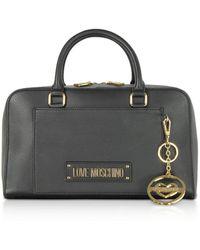 Love Moschino Black Grainy Calf Leather Small Satchel Bag