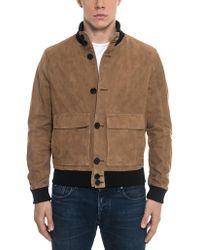 FORZIERI Brown Suede Men's Bomber Jacket