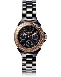 Lancaster Multifunction Ceramic Diamonds Armbanduhr in schwarz