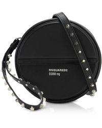 DSquared² Black Studded Calf Leather Crossbody Bag - Negro