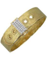 Torrini - Designer Bracelets, Zero - 18k Yellow Gold And Diamond Pave Cuff Bracelet - Lyst