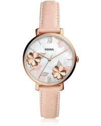 Fossil Jacqueline Three Hand Floral Blush Leather Watch - Pink