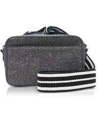 RED Valentino - Gunmetal Crackled Metallic Leather Crossbody Bag W striped  Canvas Strap - Lyst 9dadbbbed9526