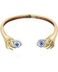 Bernard Delettrez Brass Hand Necklace With Eye - Blue