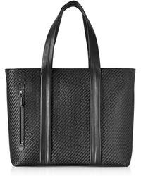 Ermenegildo Zegna - Black Pelle Tessuta Large Tote Bag - Lyst
