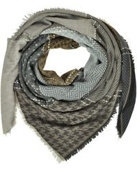 Marina D'este - Printed Wool And Acrylic Shawl - Lyst