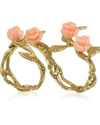 Bernard Delettrez - Two Fingers Leafy Bronze Ring W/4 Pink Resin Roses - Lyst