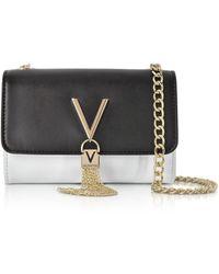Valentino By Mario Valentino - White And Black Eco Leather Divina Mini Shoulder Bag - Lyst