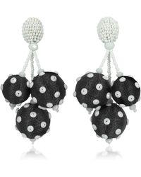 Oscar de la Renta - Polka Dot Sequin Triple Ball Clip-on Earrings - Lyst