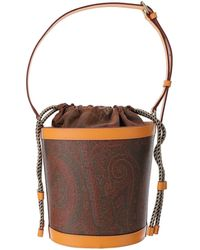 Etro Paisley Print Coated Canvas Bucket Bag - Brown