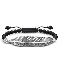 Thomas Sabo - Blackened 925 Sterling Silver Obsidian And Zirconia Feather Bracelet - Lyst
