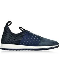 Jimmy Choo Oakland/M Navy/Grey Velvet Suede and Pearl Elastic Slip On Trainers - Bleu
