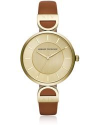 Armani Exchange - Brooke Gold Tone Luggage Women's Watch - Lyst