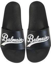 Balmain - Black Leather Calypso Men's Slide Sandals - Lyst