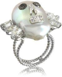 Bernard Delettrez Pearl Skull 18k White Gold Ring W/diamonds And White Sapphires