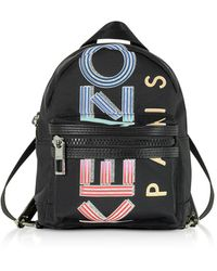 KENZO Black Nylon Sport Logo Animation Mini Backpack