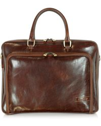 Chiarugi - Dark Brown Double Handle Leather Zip Briefcase - Lyst