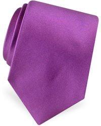 FORZIERI Solid Pure Silk Satin Silk Tie - Purple