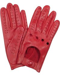 FORZIERI Women's Red Perforated Italian Leather Driving Gloves