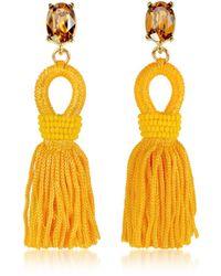 Oscar de la Renta Short Silk Tassel Earrings - Yellow