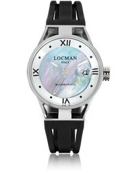 LOCMAN Montecristo Stainless Steel And Titanium Mother Of Pearl W/silicone Strap Women's Watch - Black