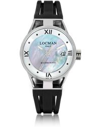 LOCMAN - Montecristo Stainless Steel And Titanium Mother Of Pearl W/silicone Strap Women's Watch - Lyst