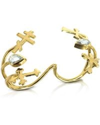 Bernard Delettrez - Gold With Green Sapphires Double Ring With Crosses - Lyst