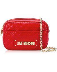 Love Moschino Camera Bag in Eco-Pelle Matelassé - Rosso