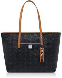 MCM - Black Visetos Anya Top Zip Shopping Bag - Lyst