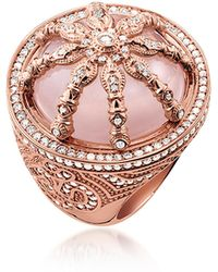 Thomas Sabo 18k Rose Gold Plated Sterling Silver Ring w/White Zirconia and Rose Quartz - Pink