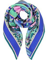 Emilio Pucci - Cobalt Blue/peony Pink Geometric And Signature Printed Silk Square Scarf - Lyst