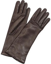 Forzieri | Women's Cashmere Lined Dark Brown Italian Leather Long Gloves | Lyst