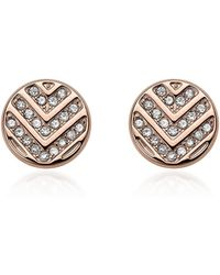 Fossil - Chevron Glitz Rose Gold Tone Stud Earrings - Lyst
