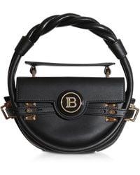 Balmain Black Leather Bbuzz Circle 21 Top Handle Bag - Negro