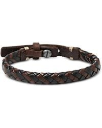 Fossil Black and Brown Braided Men's Bracelet - Schwarz