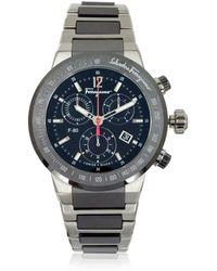 Ferragamo - F-80 Titanium And Black Ceramic Men's Watch - Lyst