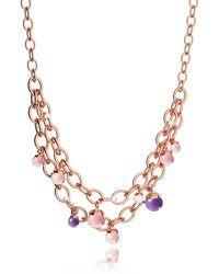 Rebecca - Hollywood Stone Rose Gold Over Bronze Chains Necklace W/hidrothermal Stones - Lyst