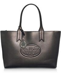 Emporio Armani - Dark Gray/steel Embossed Logo Large Tote Bag - Lyst
