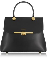 Le Parmentier Atlanta Top Handle Satchel Bag - Black