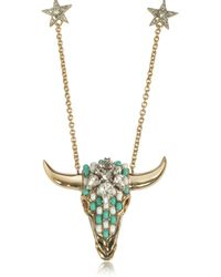 Roberto Cavalli - Goldtone Brass Long Necklace W/crystals And Mint Green Beads - Lyst