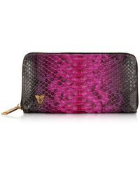 Ghibli Python Leather Continental Wallet - Morado