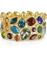FORZIERI Multicolor Crystal and Metal Bangle - Mettallic