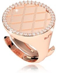 Rebecca - Melrose Rose Gold Over Bronze Ring W/cubic Zirconia - Lyst