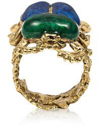 Bernard Delettrez Bronze Scarab Ring W/ Hand Made Enamel - Metallic